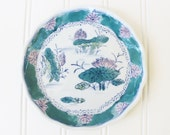 Jade green chinoiserie plate, dish Chinoiserie, turquoise green blue plate