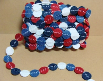 Finished-Ready To Ship-Americana Felt Garland -5 Yards