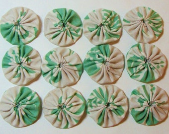 "Yo-Yo's, Set of (12) Handmade Green/Putty Print-100% Cotton Fabric- 1-3/4"""