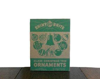 Vintage Christmas Ornaments 1940s Shiny Brite Silver Set of One Dozen Bulbs - Original Box Included - WW2 Era - 1.5""