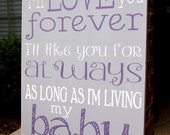 I'll Love you Forever- As long as I'm living my Baby You'll be- painted sign