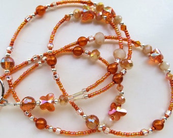 SUNRISE BUTTERFLY- Beaded ID Lanyard- Czech Druk Beads and Sparkling Crystals (Magnetic Clasp)