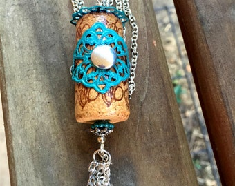 Wine Cork Pendant   Turquoise  Wine   Cork Pendant   Cork Jewelry   Item 2060