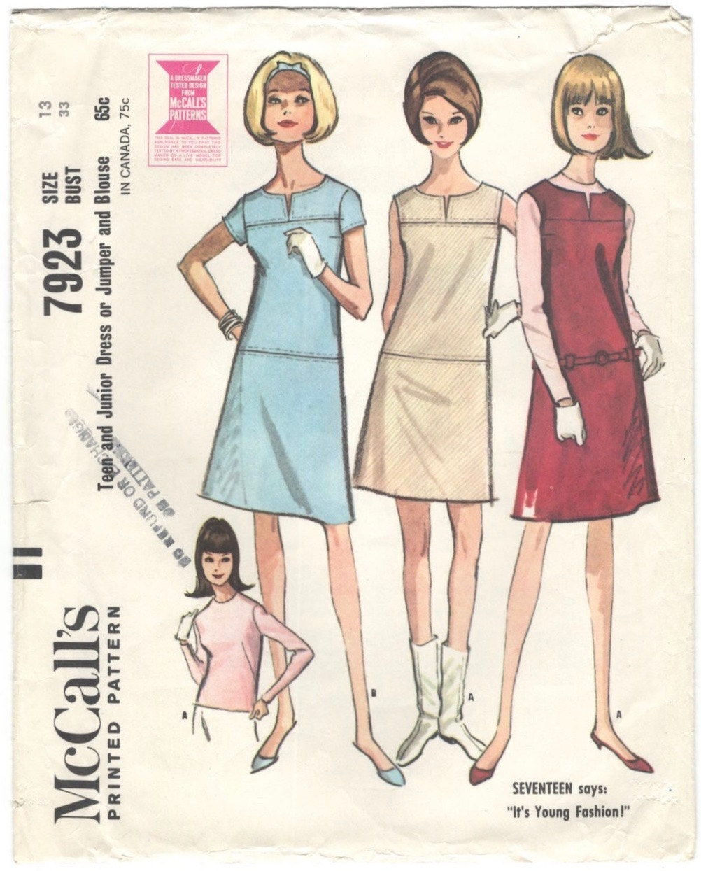 1960s dress or jumper and blouse pattern after Courrèges - McCall's 7923