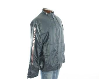 Vintage 90s TOMMY HILFIGER Coat NOS Navy Blue Slicker Cafe Racer Jacket Waterproof Coat Large L Mens Outerwear 1990s