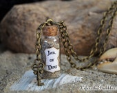 Jar of Dirt Necklace and Key Charm, Pirate Jewelry, Pirates of the Caribbean, Jack Sparrow Tia Dalma Dead Man's Chest, Bottle Size Options