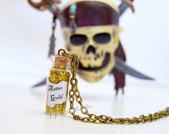 Pirate Necklace, Aztec Gold Antique Bronze Chain Necklace, Pirates of the Caribbean Inspired, Pirate Jewelry by Life is the Bubbles