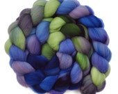 Hand dyed wool sliver -  Targhee wool spinning fiber - 4.2 ounces - Lily Pads 1