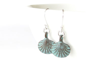 Scallop shell charm earrings, sterling silver ear wires with turquoise patina charms, beach theme jewellery gift for best friend