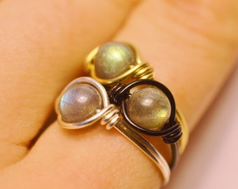 Labradorite Ring - Wire Wrapped Root Chakra Ring - Blue, Gold, Green Flash - Beautiful Quality