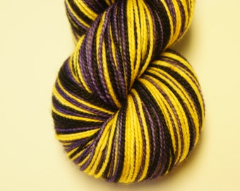 Queen Bee on Toula Sock, Self Striping, 80/20 Superwash Fingering Sock Weight