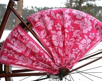 Bicycle Skirt Guard, 'Tropical Pink'. Cruiser accessories, beach bike, bicycle accessories, bike accessories, bike dress guard, cycling