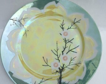 Moriyams Mori-Machi plate Hand Painted Japan 1920 8 inch