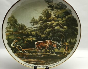 Currier and Ives Plate 1987 American Farm Scenes Spring from Currier 8875 Heritage House