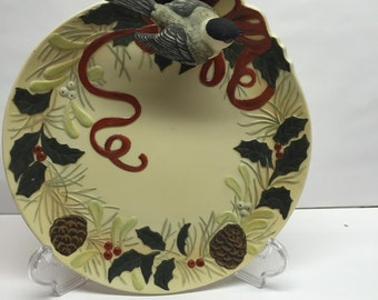 Lenox Platter Winter Greetings Chick-a-dee perched