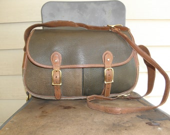 Very Early Vintage Dooney & Bourke Green Brown Leather Cross Body Bag Carryall Pre Creed Large