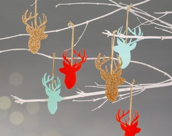 Christmas Reindeer Stag Tree Bauble Decoration - Pack of 3