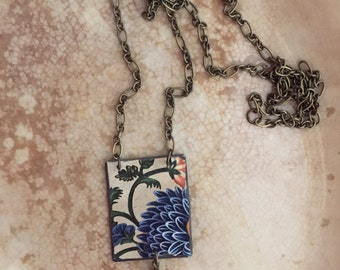 """Tin Jewelry Necklace """"Parchment"""" Tin for the Ten Year Tenth Wedding Anniversary"""