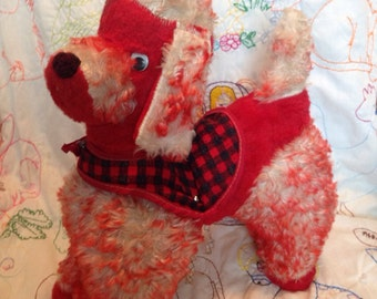 Vintage Kitsch Cute Red Poodle Plushy Wearing Plaid Burette and Vest