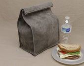 Large Leather Lunch Bag - Gray - It's fun, it's leather, it's a great conversation starter