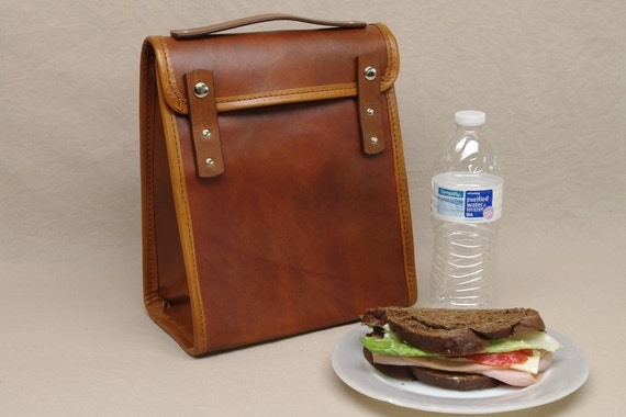 Executive Leather Lunch Bag - Light Brown