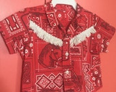 Baby Top Size 6-12 months Western Red Bandana Cotton vintage fabric with buttons