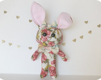 Floral Bunny Plush with Bow