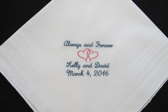 Embroidered Wedding Handkerchief for the Groom from his Bride