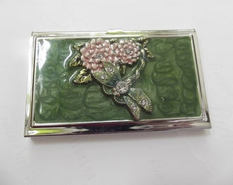 flowered silver-plated mirror business card holder, vintage