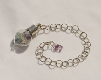 Rainbow Fluorite Pendulum - Stone to Help Open and Re-energize Spiritual and Mental Pathways, Rids Negative Energy, 3rd Eye Chakra