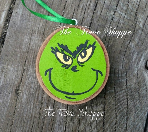 Grinch wood slice ornament hand painted by Marais0Handmade