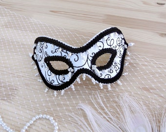 Black and White Masquerade Ball Mask