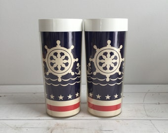 Vintage 70's Nautical Tumblers / West Bend Thermo-Serv Plastic Cups