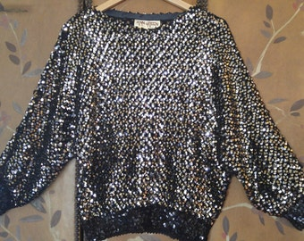 80s super sparkly black sequin sweater by Ann Green, made in England