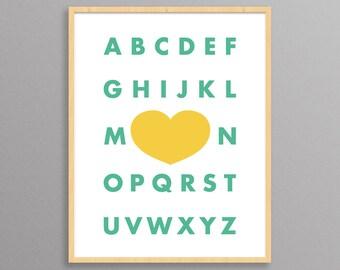 Nursery Print - Modern Alphabet - a design print // 8.5x11 or 13x19 // for nursery or kid's room