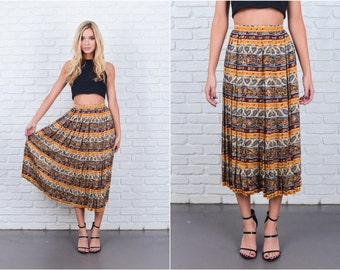 Vintage 80s Ethnic Print Skirt Silk Pleated Stripe Floral Midi XS 2XS 6683 vintage skirt ethnic skirt pleated skirt xs skirt xxs skirt