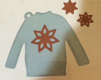 Lifestyle Crafts/Quickutz  Dies   SHIRT/SWEATER TAG dt0019  4 x 4 die  snowflake double snowflake   All year round t-shirt