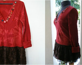 Upcycled Red Dress Shirt L XL, Boho Lagenlook long Sleeve Deep Button V Neck Tunic Top, Tie Die Embellished Layering Eco Clothes Refashioned