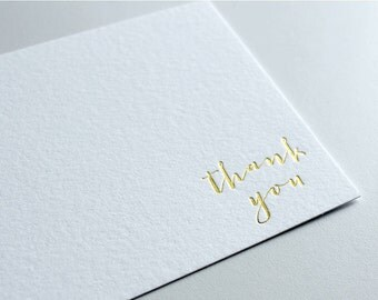 Gold Foil Thank You Cards, Wedding Thank You Cards, Calligraphy Thank Yous, Hot Foil Thank You Card Set