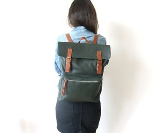 "Leather Backpack in Dark Green - 15"" Laptop - Father Days Gift - Adjustable Detachable Leather Straps - Zippered Pocket"