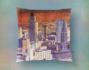 Cleveland Throw Pillow City Skyline Bold Inspired Toss Pillow Home Decor Product Sizes and Pricing via Dropdown Menu
