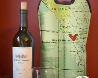 BYOB Wine Tote | Sonoma San Francisco | Two Bottle Neoprene Wine Carrier |  Bar Accessory | Hostess Gift | Custom Available