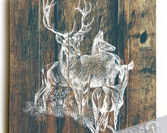 Deer Family Wood Sign   Wilderness Country Chic Decor   Printed Direct On Wood. Wall Decor Ready to Hang
