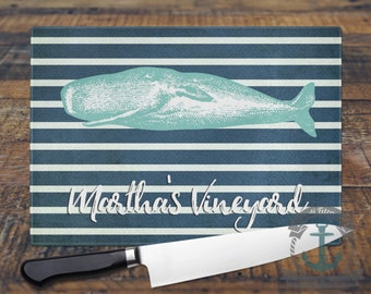 Glass Cutting Board - Martha's Vineyard | Nautical Stripes Cape Cod Beach House Decor | Small or Large Kitchen Art for Your Countertop