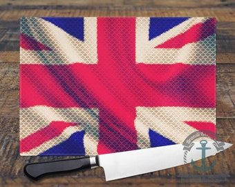 Glass Cutting Board - Union Jack | UK Flag British Decor | Small or Large Kitchen Art for Your Countertop