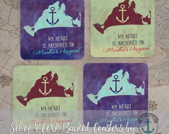 "Coaster Set | Martha's Vineyard   ""My Heart is Anchored"" Island Beach House Decor | Set of 4 Cork Back | Options at Checkout"