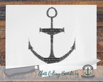 Glass Cutting Board - Maryland Anchor | Nautical Beach House Decor | Small or Large Kitchen Art for Your Countertop