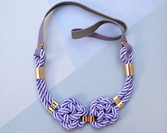 Violet Nautical Knot  Rope Necklace with leather cord and metal tube by pardes