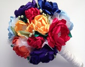 Fabric Bouquet - Rainbow Colors, Primary Colors, Bold Colors, Royal Purple, Royal Blue, Fabric Flowers, Satin Flower Bouquet, Heirloom