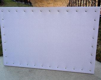 "PinBoard Corkboard Cork Bulletin Message Pin Dream Board 23"" x 35"" Gray / Grey Polka Dot Fabric with Brushed Satin Nickel Nail Head Trim"